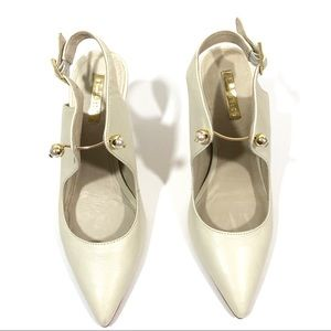 Louise Et Cie Ivory Pearl Pointed Toe Heels